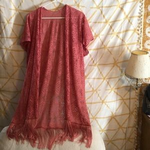Peach Lace Coverup/Duster
